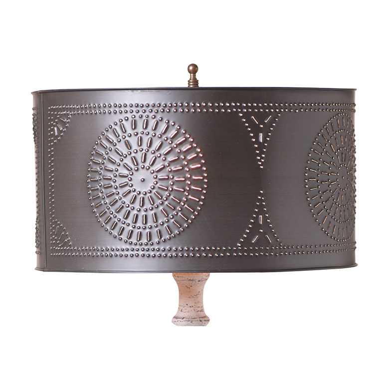 Table Lamp Drum Shade With Chisel In Kettle Black Punched
